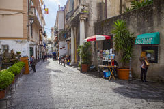 AMALFI ITALY - NOVEMBER 5 :  tourist walking in narrow treet of Stock Photos