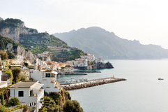 Amalfi, Italy - panoramic view of the city and the coast. Amalfi, Italy - scenic panoramic view of the city and the coast Stock Images