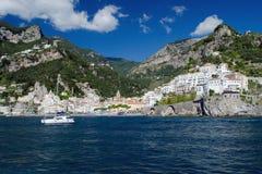 Amalfi, Italy. Amalfi seen from the sea Stock Photography