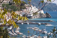 The town and port of Amalfi on the Amalfi Coast in Southern Italy. Photographed on a clear day in early autumn. stock photo