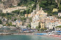 Amalfi, Italy, Waterfront buildings, beach and port stock image