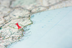 Amalfi on the map. Amalfi indicated on the map as a geographical concept of tourism royalty free stock image