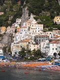 Amalfi panorama of the village. Church of San Biagio royalty free stock images