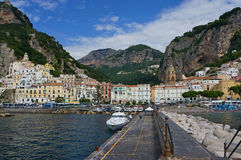 Amalfi. The paradise town at a foot of mountains. Amalfi Royalty Free Stock Photo