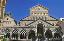 Amalfi's cathedral. Facade of Saint Andrews cathedral or Cattedrale di S.Andrea in Amalfi covered with Byzantine mosaics, Amalfi, Amalfi coast, Unesco world Royalty Free Stock Images