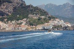 Amalfi seen from the sea on Amalfi Coast in the region Campania. Italy royalty free stock photos