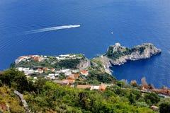 Amalfi Sunie, Włochy - panoramiczny widok Conca dei Marini od Agerola Obraz Royalty Free