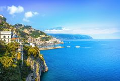 Amalfi town and coast, panoramic view. Italy royalty free stock images