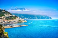 Amalfi town and coast, panoramic view. Italy. Amalfi town, harbor and coast, panoramic view. Campania Italy, Europe Stock Photo