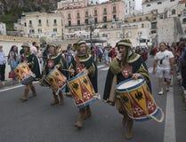 Amalfi upplaga 61 av historisk regatta av den maritima Republen Royaltyfria Foton
