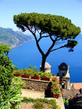 Amalfi view. Famous Amalfi Coast view from the cliffside town of Ravello, Italy Royalty Free Stock Images