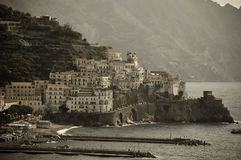 Amalfi view on the Amalfi coast with old filter. Italy royalty free stock photos
