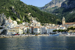 Amalfi. A view from the sea of Amalfi Beach Stock Images