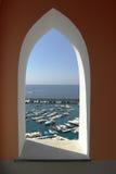 Amalfi window on the port Royalty Free Stock Image