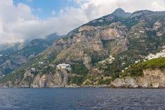 Amalfi wybrzeże widzieć od morza Zdjęcie Royalty Free
