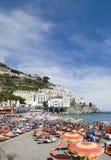 Amalfi, zuidelijk Italië, strand Royalty-vrije Stock Foto's