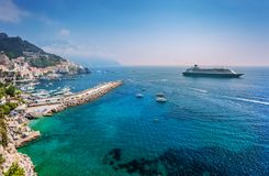 Amalfitan coast with cruise liner Royalty Free Stock Photography