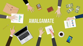 Amalgamate concept illustration in a team dicussion Stock Photography