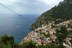 The Amalifi Coast, town of Positano. The coastal Amalfi Coast road passing through the town of Positano Royalty Free Stock Photography