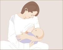 Amamantamiento de un niño recién nacido Imagen de archivo libre de regalías