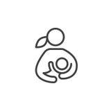 Amamantamiento, mujer que amamanta su línea icono, muestra del vector del esquema, pictograma linear del niño del estilo aislado  Foto de archivo