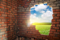 Łamana cegły ściana Obrazy Stock