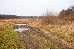 Łamana droga gruntowa w polu Obraz Stock