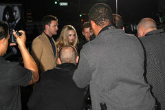 Amanda Seyfried, Justin Timberlake. LOS ANGELES - OCT 20:  Justin Timberlake, Amanda Seyfried arriving at the In Time Los Angeles Premiere at the Los Angeles on Royalty Free Stock Image