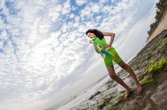 Amanda Silva. Is a actress in srilanka  - news paper photoshoot at colombo - December 10th, 2010 Stock Photo