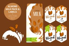 Amande sur l'éclaboussure de lait Paquet de lait d'amande avec l'insigne de la meilleure qualité de qualité, étiquettes organique illustration stock