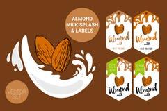 Amande sur l'?claboussure de lait paquet de lait d'amande avec les écrous tirés par la main, étiquettes organiques de labels Auto illustration libre de droits