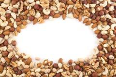 Amandel, pistache, pinda, okkernoot, hazelnootmengeling Stock Afbeeldingen