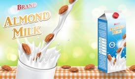 Amandelmelk met plons en zaden op bokehachtergrond die worden geïsoleerd Document het ontwerp van het de melkpakket van de karton vector illustratie
