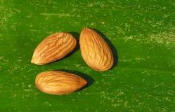 Amandelnoten op banaanblad dat worden gehouden stock fotografie