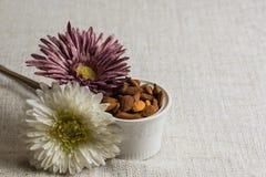 Amandes épluchées dans une cuvette et des fruits secs blancs d'amandes sur la texture beige de tissu, décoration de fleur, l'espa images stock