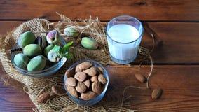 Amandes et lait frais sur le bois images libres de droits