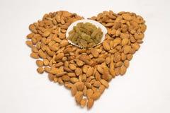Amandes et raisins secs image stock