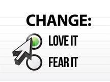 Amando o temiendo el cambio Imagen de archivo libre de regalías