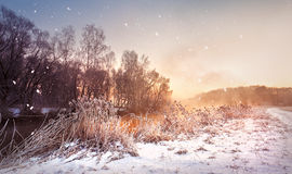 Amanecer brumoso del invierno en el río Copos de nieve, nevadas Wint soleado Foto de archivo libre de regalías