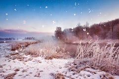 Amanecer brumoso del invierno en el río Copos de nieve, nevadas Wint soleado Imagenes de archivo