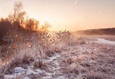 Amanecer brumoso del invierno en el río Copos de nieve, nevadas Wint soleado Imagen de archivo
