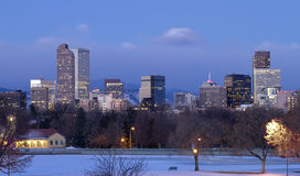 Amanecer de Denver en invierno Imágenes de archivo libres de regalías