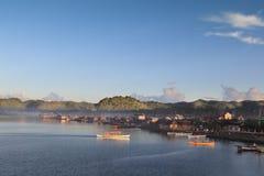 Amanecer de la ciudad de Dapa Siargao Fotos de archivo libres de regalías