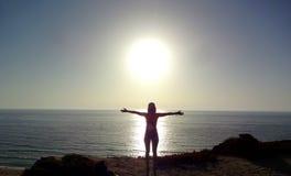 Amanecer de Sun - playa Imagen de archivo