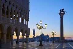 Amanecer de Venecia del palacio del dux fotos de archivo libres de regalías