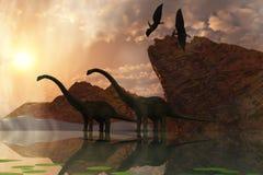 Amanecer del dinosaurio Imagenes de archivo