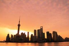 Amanecer del horizonte de Shangai Foto de archivo libre de regalías