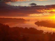 Amanecer del río Vistula Fotos de archivo libres de regalías