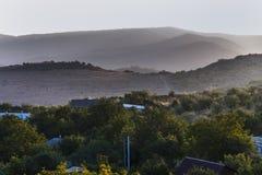 Amanecer en el área de montaña Foto de archivo