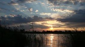 Amanecer en el lago almacen de metraje de vídeo